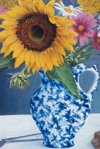 Sunflower and Spatterware Pitcher